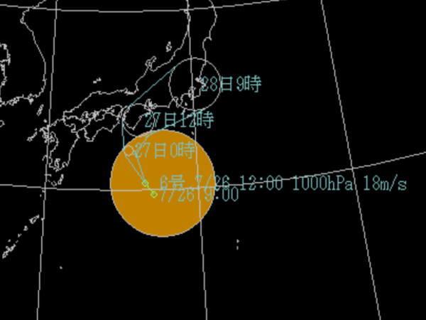 台風6号の進路予想