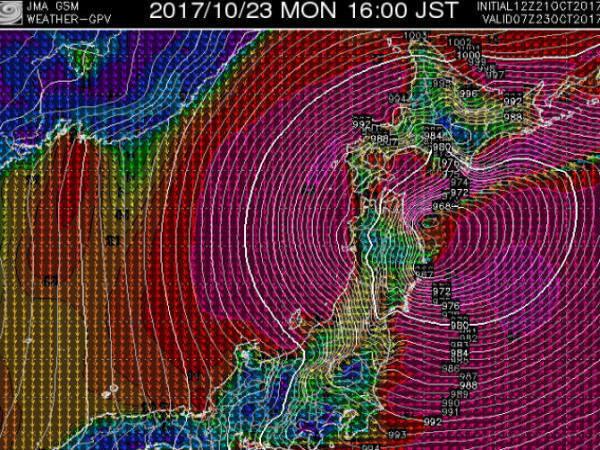 台風21号10月23日pm4時