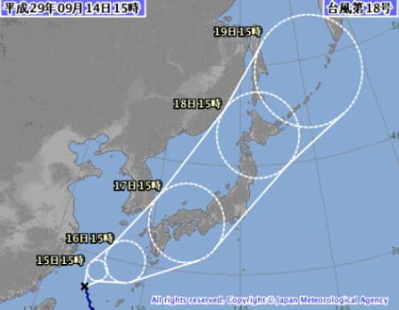 台風18号2017年09月14日午後15時の予報