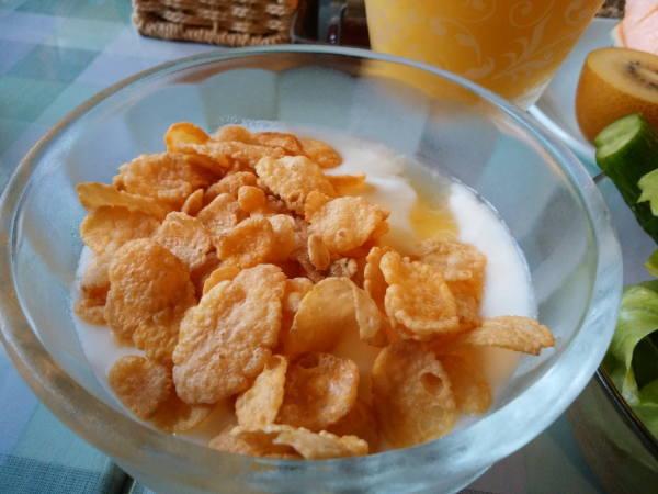八丈島 朝食の料理 ヨーグルト&オレンジジャム&シリアル