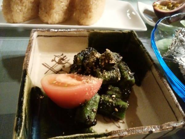 11日 八丈島 夕食の料理 ネリの胡麻和え