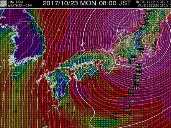 台風21号10月23日am8時